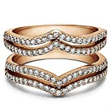TwoBirch Rose Gold Plated Sterling Silver Double Row Chevron Style Ring Guard with Cubic Zirconia (0.5 ct. tw.)