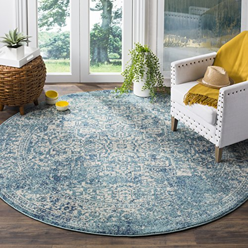 Safavieh Evoke Collection EVK256C Vintage Oriental Blue and Ivory Round Area Rug (6'7