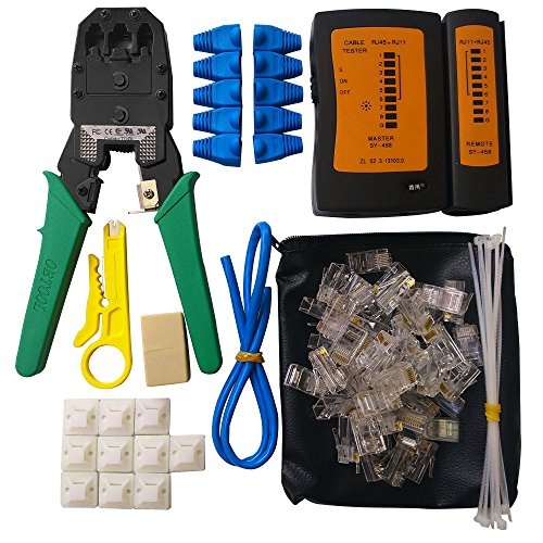 ILIVABLE Network Cable Repair Tool Kit, Professional Crimping 8P 4P 6P Crystal Head Rj45 Rj11 Cat5 Cat6 LAN Wire Tester Maintenance Instrument 10 in 1 - Network Lan Cable