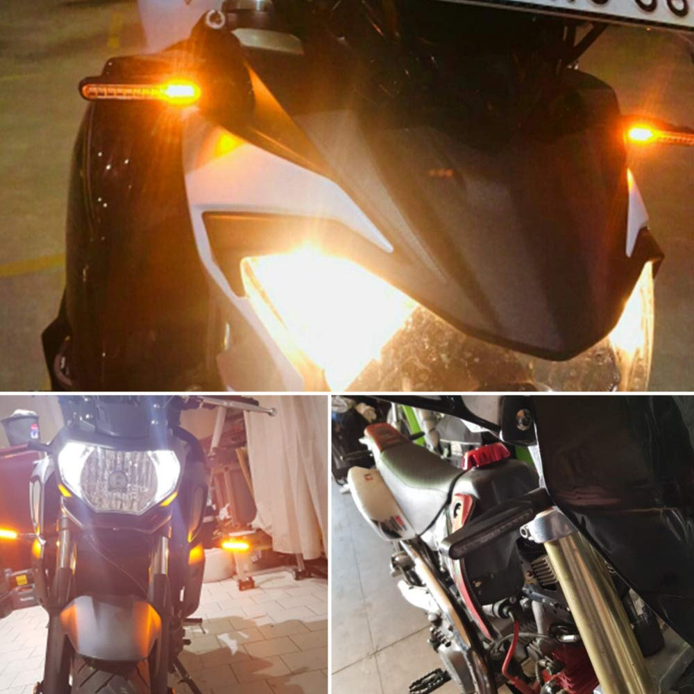 FEZZ LED Blinker Motorrad E Gepr/üft Universal LED Blinker Tagfahrlicht Motorrad Blinker Motorrad Led Lauflicht 4 St/ück Bernstein