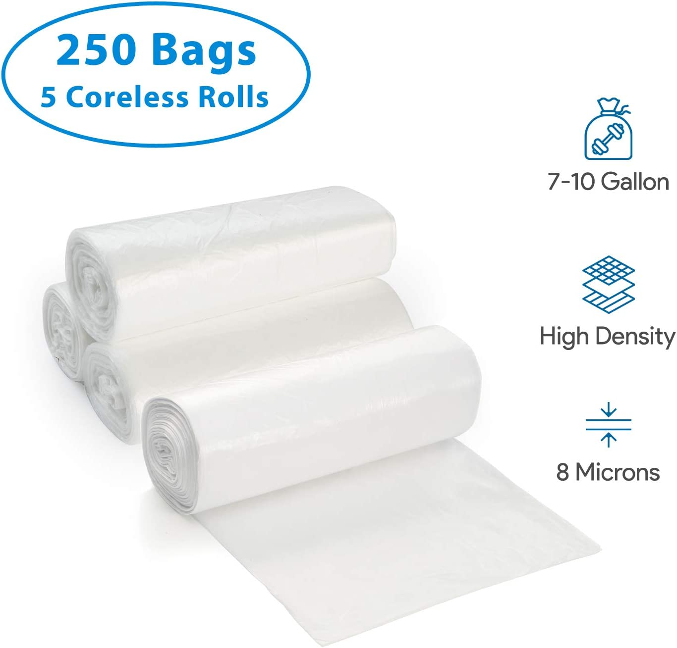 For Office Industrial Wastebaskets 250 Count 7-10 Gallon Clear Trash Bags Small 5 Coreless Rolls Home High Density 8 Microns Medium Garbage Can Liners Hospital Lightweight