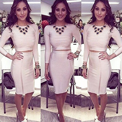 Bodycon Long Sexy Beige HLBandage Bandage Piece Women's 2 Rayon Sleeve Dress vq07Iqx