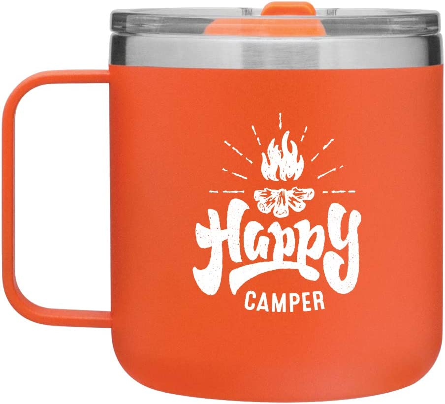 Amazon Com Happy Camper Camping Mug Gifts For Camping 12oz Vacuum Insulated Stainless Steel Travel Mug With Lid By Mugheads Matte Orange Kitchen Dining
