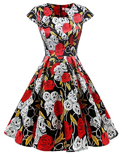 Homrain Women's 1950s Retro Vintage A-Line Cap Sleeve Cocktail Swing Party Dress Black Rose Skull S]()