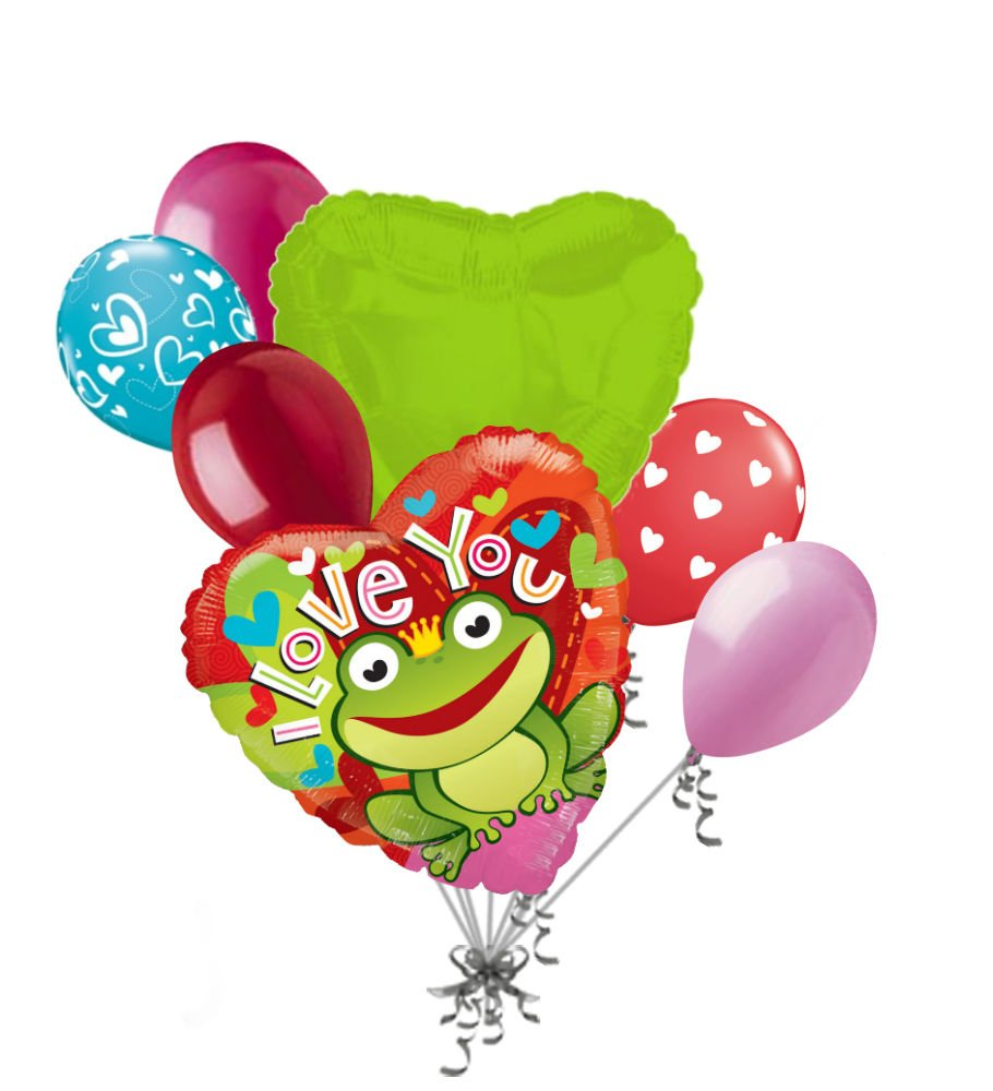7 pc Frog Prince I Love You Happy Valentines Day Balloon Bouquet Mine Hug Kiss Sweetest   B01LZUMHYZ