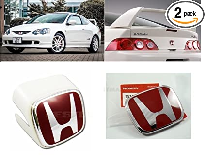 Amazoncom NEWANIMER JDM WHITE FRONT REAR REDH EMBLEMS FOR - Acura rsx front emblem
