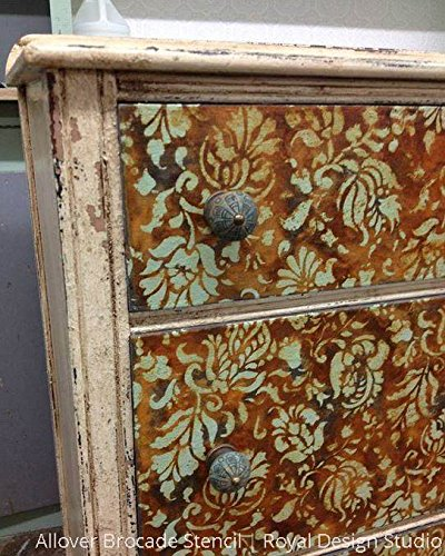 painting designs on furniture. Small Brocade Floral Furniture Stencil For Painting Flower Designs On Dresser Drawers Or Cabinets S
