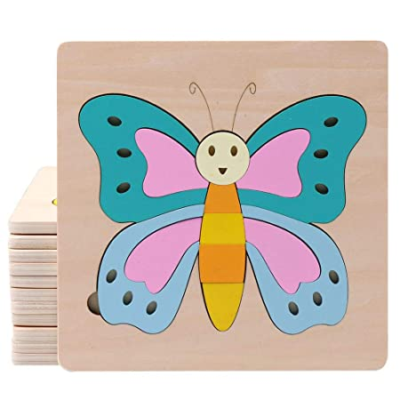 FidgetGear Cartoon Wooden Jigsaw Puzzles for Kids Toddlers Animal Puzzle Blocks Educational Toy for Boys Girls Butterfly