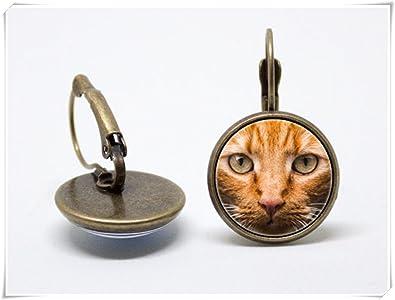 JUN pendientes de gato rojo, pendientes de gato, joyería de gatos, pendientes para