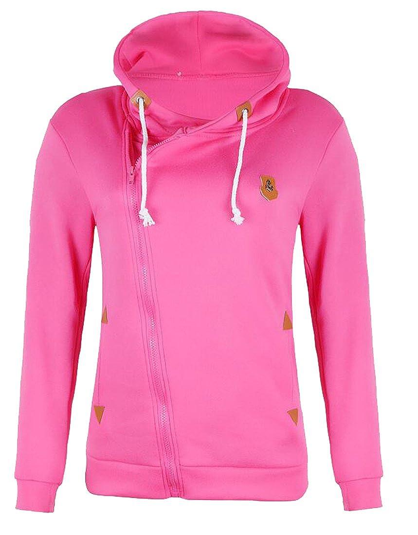 Oberora-Women Fashion Hoodie Oblique Zipper Solid Color Jacket Coat Sweatshirt