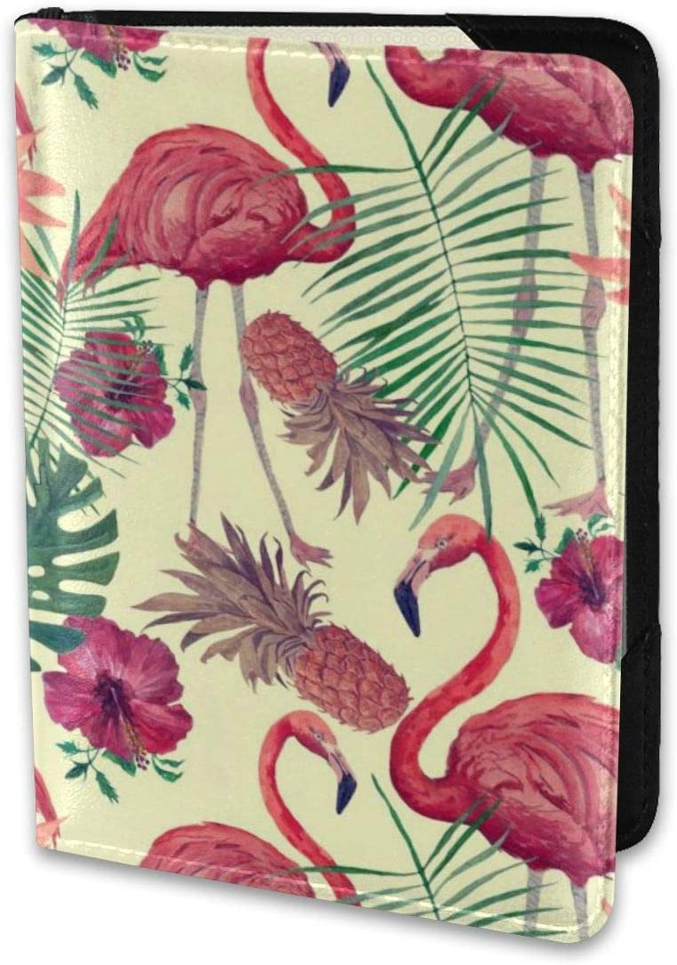 Biahos Leather Passport Cover Summer Flamingo Pineapple Wallet For Passport Case