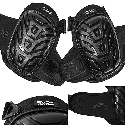 Professional Knee Pads By RVDY Ergonomically Designed Knee Protection With Comfortable Gel Cushion & Soft EVA Foam Padding –Adjustable Knee Guard Made With 600D Breathable Polyester Fabric by RAVE Dynamics