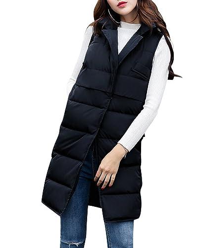 Mujer Elegante Invierno Sin Mangas Abrigo Largo Acolchado Chaleco Chaqueta