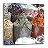 3D Rose dpp_164765_1 3dRose Colorful Spices in the Souks, Dubai, Uae Photo by Rhonda Albom-Wall Clock 10-inch