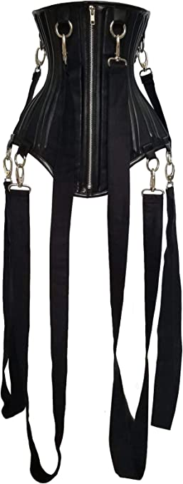 Heavy Duty Under Bust Genuine Leather Waist Cincher Twill Cotton Corset C6-L