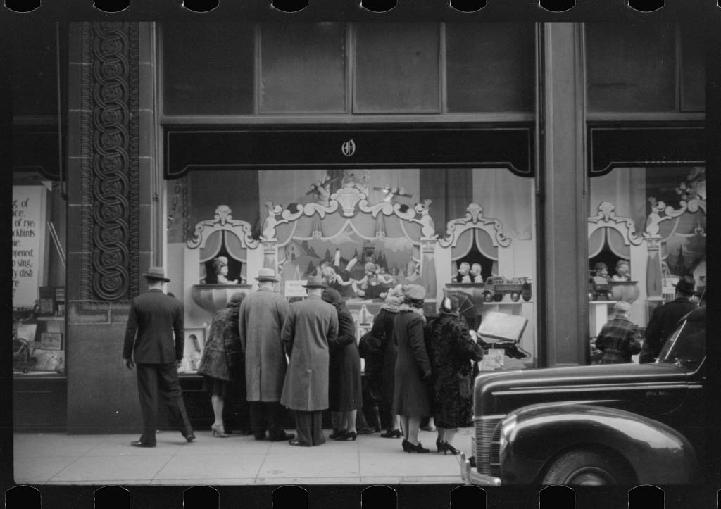 Vintography Reproduced Photo of Window Shoppers Watching Toy Display in Downtown Providence, Rhode Island 1940 Delano C Jack 46a