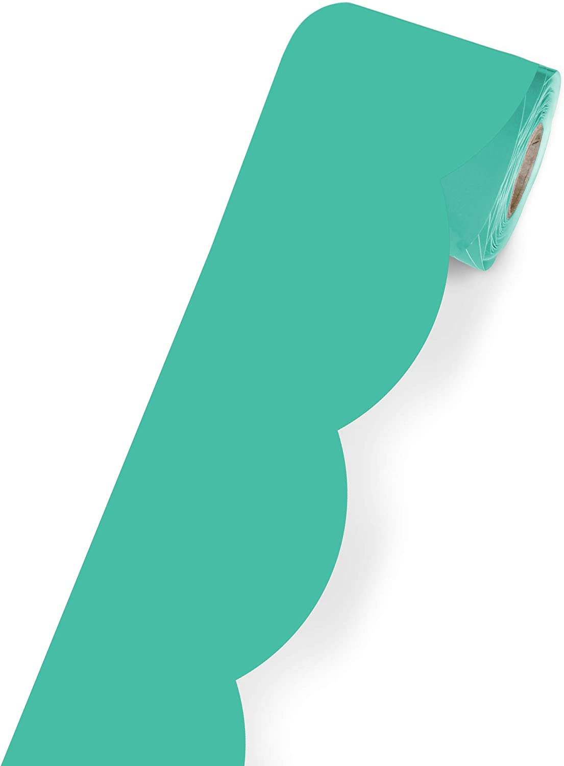 Schoolgirl Style Black, White and Stylish Brights Rolled Scalloped Border—Turquoise Rolled Border for Bulletin Boards, Desks, Lockers, Homeschool or Classroom Decor (36 ft) (108454)
