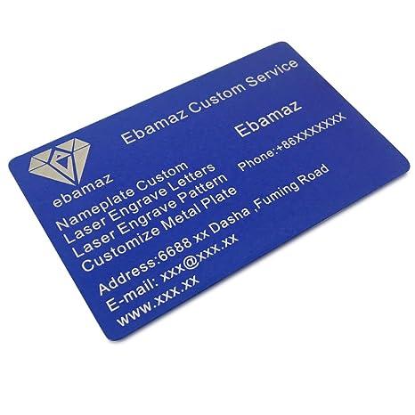 Amazon ebamaz metal business cards anodized aluminum plaque ebamaz metal business cards anodized aluminum plaque plate 86x54x08mm blue10pcs colourmoves