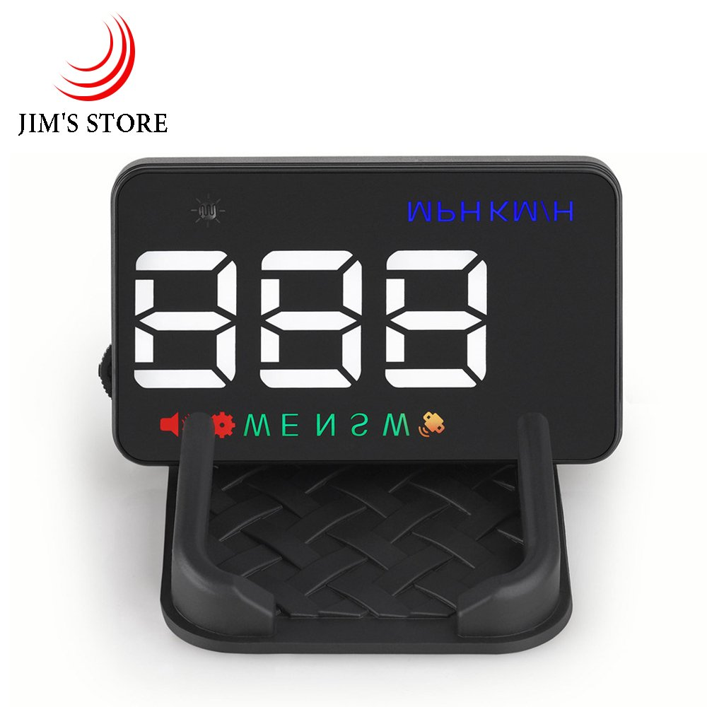 Auto Head up Display, JIM'S STORE A5 hud Display Plug & Play KMH MPH GPS Geschwindigkeitsmesser, Automatischer Lichtsensor, Kompass, Geschwindigkeitsalarm mit Skid-Pad fü r alle Fahrzeugmodelle Jim' s Stores JS-ELE01