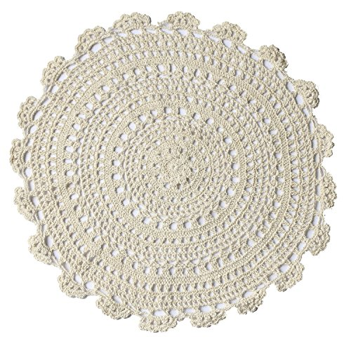 Ling's moment Handmade Crochet Cotton Lace Doilies Placemats, Coffee Table Decoration, End (New Large Round Doily)