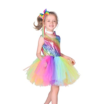 Familus Rainbow Tutu Dress for Girls with Wig and Big Bow Tie for Birthday Outfit: Clothing