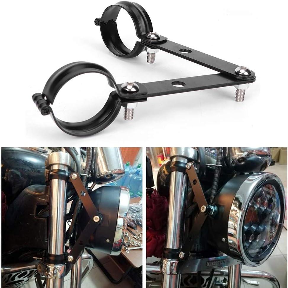 Qiilu Support de Phare Moto Lampe Frontale Pinces de Fourche Supports de Montage CNC en Aluminium Tailles universelles en Option pour fourches Tube 34-60mm 34-41mm