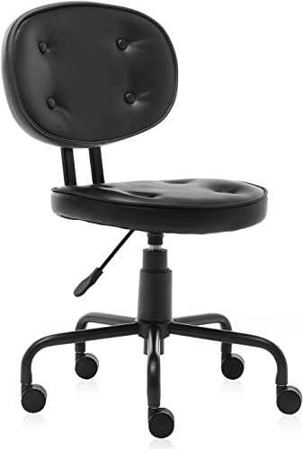 B2C2B Ergonomic Office Chair Leather Desk Chair Black Leather Computer Chair Back Support Modern with Wheels Armless Task Chair Conference Room Chairs for Women, Men