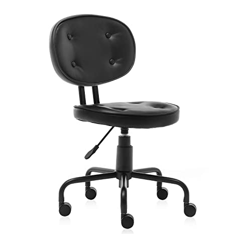 B2C2B Ergonomic Office Chair Leather Desk Chair Black Leather Computer  Chair Back Support Modern with Wheels Armless Task Chair Conference Room  Chairs ...