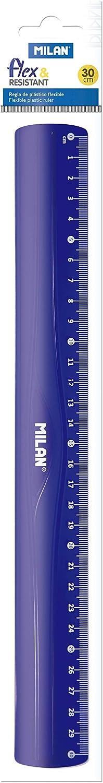 MILAN Rigla de plástico flexible, azul, 30 cm