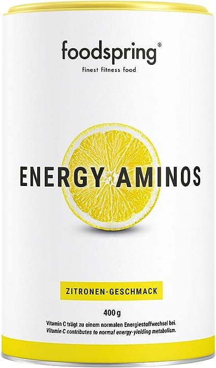 foodspring Energy Aminos, 400g, Sabor Limón, Bebida pre ...