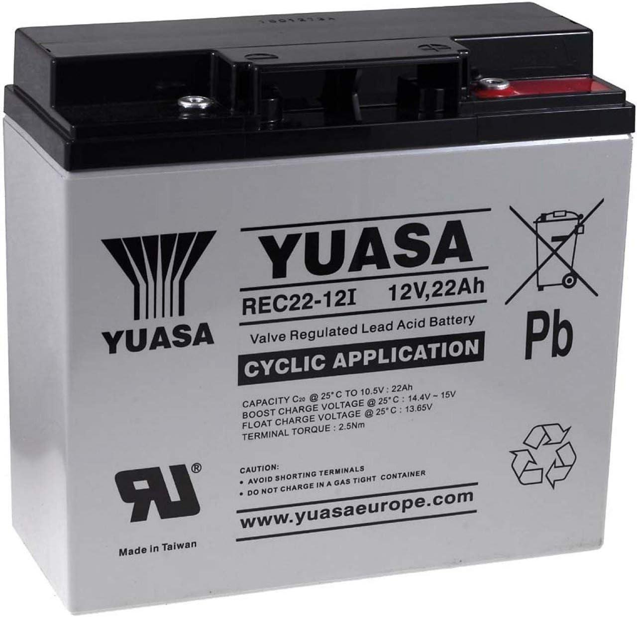YUASA Batería de Reemplazo para Carro de Golf Sillas de ruedas Autocaravanas Scooter eléctrico 12V 22Ah cíclica