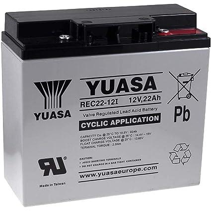 YUASA Batería de Reemplazo para Sistemas solares Equipos de limpieza Montacargas 12V 22Ah cíclica