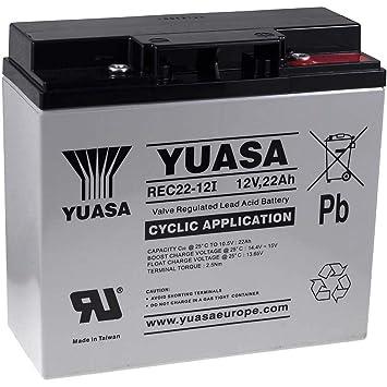 YUASA Batería de Reemplazo para Carro de Golf Sillas de ruedas Autocaravanas Scooter eléctrico 12V 22Ah cíclica: Amazon.es: Electrónica