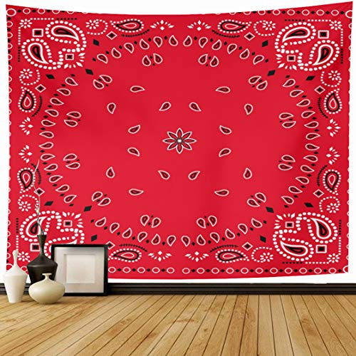 AlliuCoo Tapestry Wall Hanging 60 x 50 Inches Colorful Bandanna Red Paisley Bandana Green Classic Neckerchief Abstract Black Home Wall Decor Tapestries for Bedroom Living Room Dorm