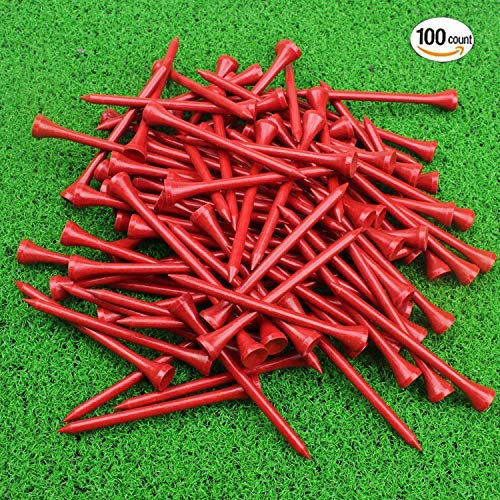 Crestgolf Bamboo Golf Tee 3-1/4 inch Pack of 100 Red