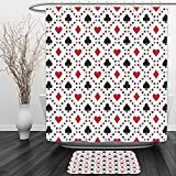 Vipsung Shower Curtain And Ground MatCasinos Poker Cards Advertising Holidays Getaways Tourist Destinations PleasureShower Curtain Set with Bath Mats Rugs