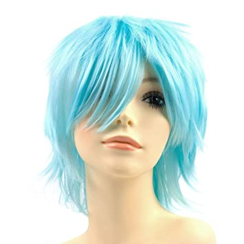 Fashion Anime Cosplay Wigs Blue Color Handsome Men/'s Short Hair