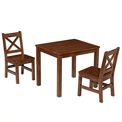 Prime Ehemco Kids Table And Chairs Set Solid Hard Wood With X Back Chairs 3 Coffee Caraccident5 Cool Chair Designs And Ideas Caraccident5Info