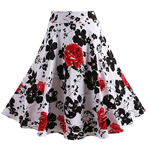 Fancyqube(TM) Women Pleated Vintage Skirts Floral Print Midi Skirt