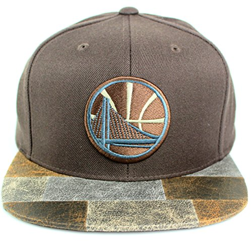 Mitchell & Ness NBA Petrified Wood Micro Suede Visor Snapback Cap (One Size, Golden State Warriors)