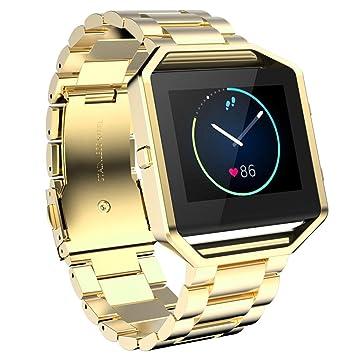 Ouneed For Fitbit Blaze Watch Band, Pulsera de Acero Inoxidable de Venda de Reloj de la Correa para el Reloj Inteligente Fitbit Blaze (Oro): Amazon.es: ...