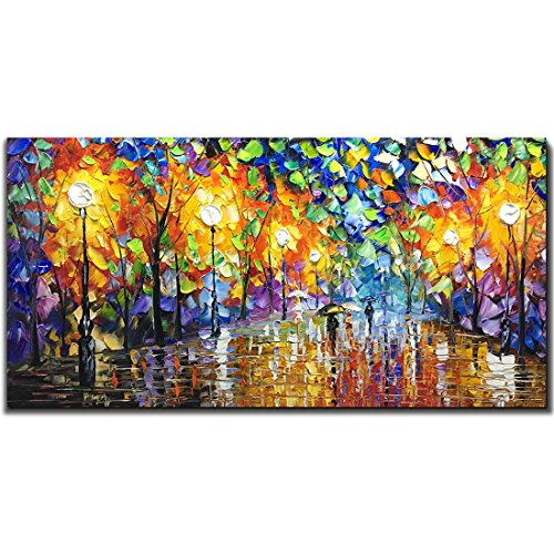 (V-inspire Art, 24X48 Inch Oil Paintings on Canvas Wall Art 100% Hand-Painted Contemporary Artwork Abstract Artwork Night Rainy Street livingroom Bedroom Dinning Room Art Decorative Pictures Home)