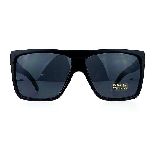b4b5e5f121 Dark Black Lens Matte Black Sunglasses Flat Top Square Oversized Mob Style