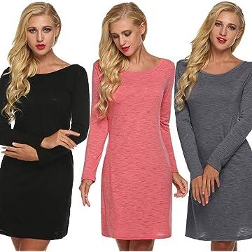 UpBeauty Women Fashon Casual V Back Long Sleeve Solid Loose Dress Dresses