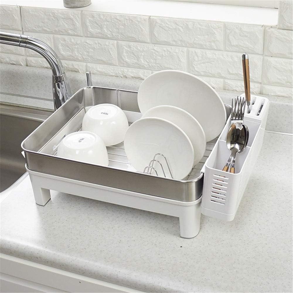 キッチンドレンラック カトラリー銀ストレージラック付きカトラリー乾燥棚はキッチン用具ホルダーに適しています 実用的で安定した多用途 (色 : Silver, Size : 46.5x31x19cm)
