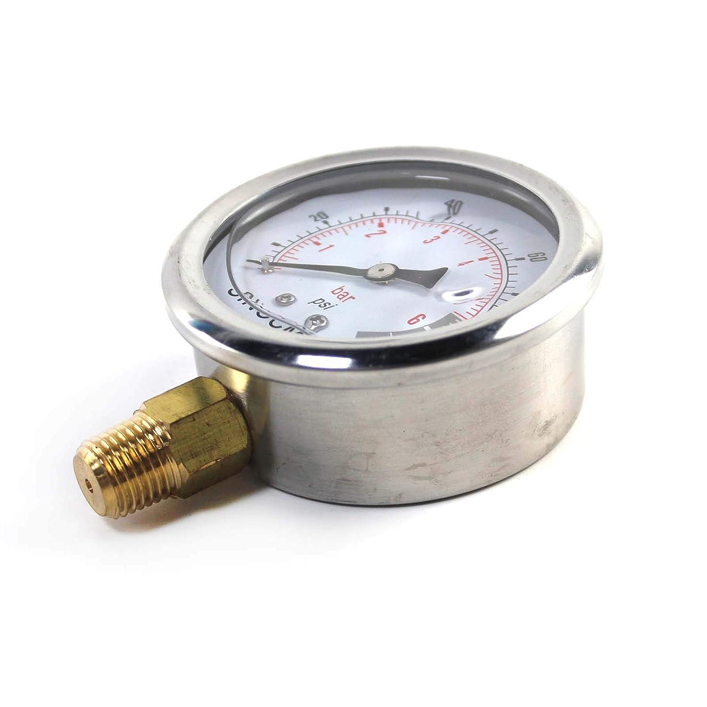 SINOCMP Hydraulic Pressure Gauge 0.6Mpa//0-6Bar//0-100PSI Economical Multi Purpose Double Scale Stainless Steel Glycerin Filled Gauge