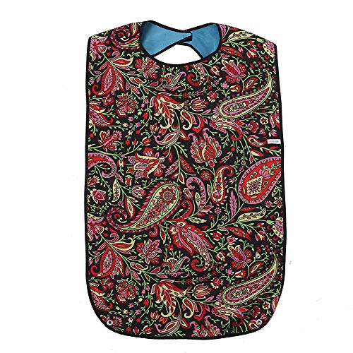 Fushida Disposable Adult Bib, Waterproof PVC Layer and Printing Cotton Cloth Material, Mealtime Clothing Protector, Adult Bibs for Eating Men, Limited Mobility, Cerebral Palsy Patient(FYH512-Flower))