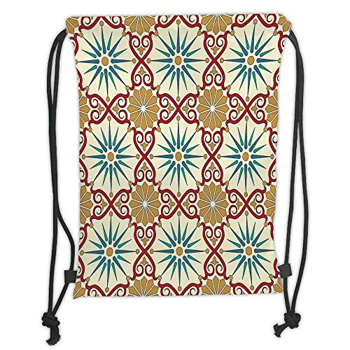 New Fashion Gym Drawstring Backpacks Bags,Moroccan,Eastern Sacred Geometry Art Figures with Classical Damask Ornate Elements Image,Mustard Beige Soft Satin,Adjustable String Closu