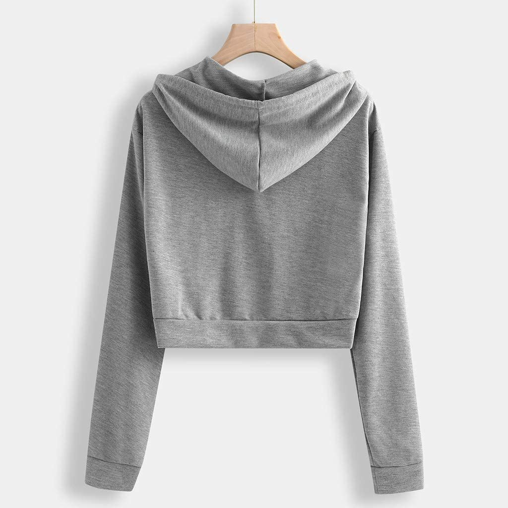 Small Pattern Womens Sports Long Sleeve Crop Hoodie Sweatshirt Top Pullover Hooded Sweatshirt