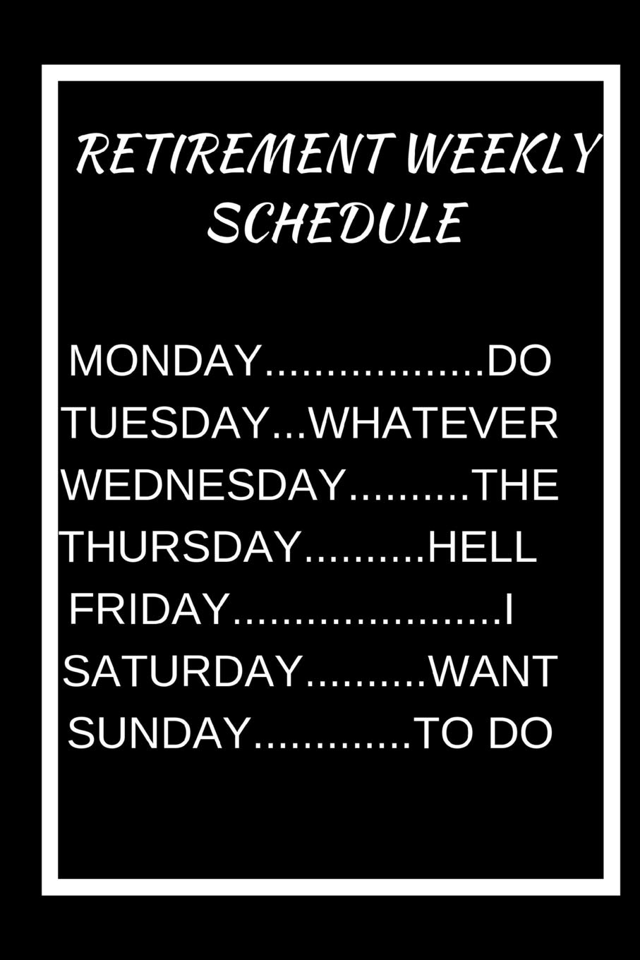 RETIREMENT WEEKLY SCHEDULE: A 6x9 blank Ruled Lined Pages ...